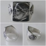 WW II Hitler face swastika german silver ring