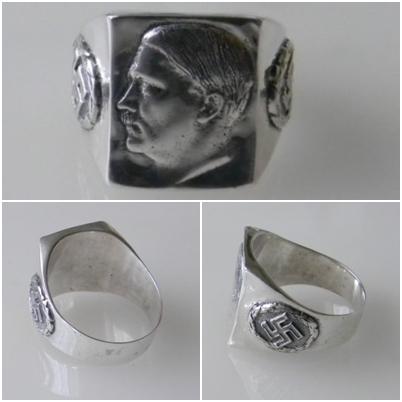 Ww Ii Hitler Face Swastika German Silver Ring Ultrasrings En