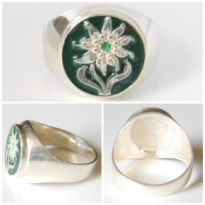 """Alpen Divisions Edelweiss"" silver ring"