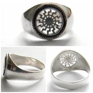 Black Sun silver ring