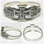 Military Army Husaren Wehrmacht Officer Iron Cross Silver Ring