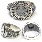 "WW II German SS silver ring with logo ""Meine Ehre Heisst Treue"""