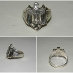 German WW2 Swastika Eagle Silver Ring