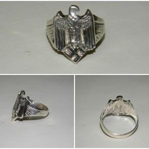 German WW2 Swastika Eagle Silver Ring