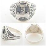 Labrys Double axe sterling silver ring