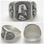 Stahlhelm SS silver ring