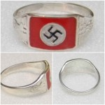 German Nazi NSDAP Swastika silver ring