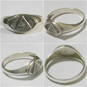 STERLING SILVER MASONIC RING  К-133