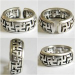 Silver ring Buddhist swastika