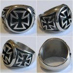 Sterling Silver Biker Iron Cross Ring
