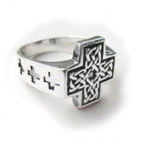 Celtic Cross Ornament Men Ring Sterling Silver