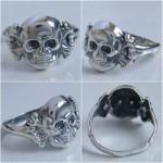 Patriotic WW I Silver ring Skull with bones