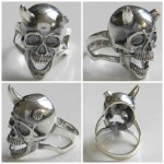 Skull with horns Silver Biker Men's Ring