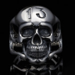 Skull Number 13 Sterling Silver Biker Men's Rings