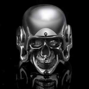Skull in helmet Silver Biker Men's Ring