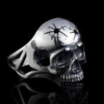 Sterling Silver Biker Ring Skull with Crack