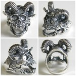 Devil Ring, Devil With Hornes Ring, Silver Skull Ring, Silver Devil Ring, Mens Skull Ring,