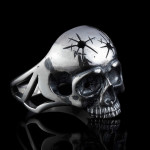 Silver Biker Men skull ring with headshot