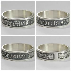 """German silver ring """"Mehr Sein als Scheinen"""""""